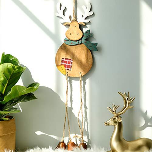 Higlles Weihnachten Dekoration Aus Holz Anhänger Elk Bell Weihnachtsdekoration Gemalt Süß Weihnachtselch Dekorationen