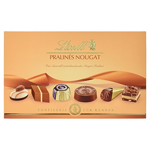 Lindt Nougat Pralinés 200g, zartschmelzender Nougat-Genuss in elf unterschiedlichen Variationen, 1er Pack