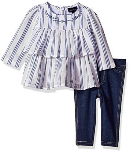 Calvin Klein Baby Girls 2 Pieces Legging Set Pants, Navy/Blue, 12M