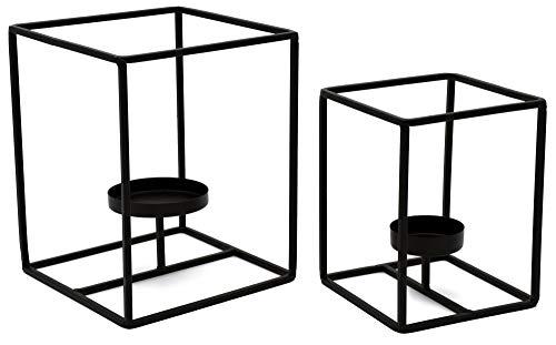 """D&D Living Kerzenständer """"Kandelo"""" Schwarz - Kubischer Design-Kerzenhalter aus Metall (2er Set)"""