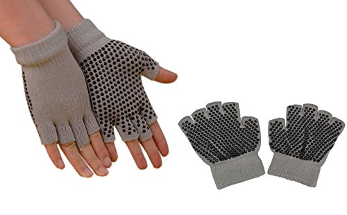 Sin dedos guantes de ejercicio antideslizante Yoga Pilates calcetines con puntos de silicona, gris