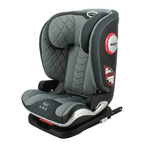 Silla de coche i-Size RAFAL 100-150 cm con protección lateral y asiento reclinable (gris)