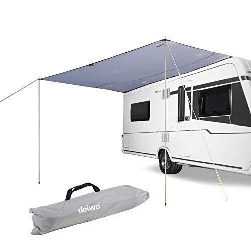 deiwo Sonnensegel | für Wohnwagen Wohnmobil und Bus | grau | 3,50 x 2,4 | für Kederleisten 7 mm | Wassersäule 2000 mm | inkl. Aufstellstangen