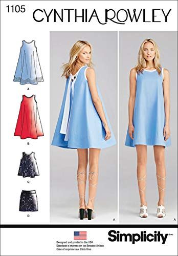Simplicity 1105 Women's Dress, Top, and Skirt Sewing Pattern by Cynthia Rowley, Sizes 6-14