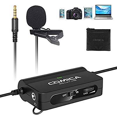 Clip-on Microphone Comica CVM-SIG.LAV V05 Lavalier Lapel Microphone with Stepless Gain Control, Real-time Monitor, Professional Omnidirectional Condenser Video Mic for Camera/Phone/PC etc (6m cable)