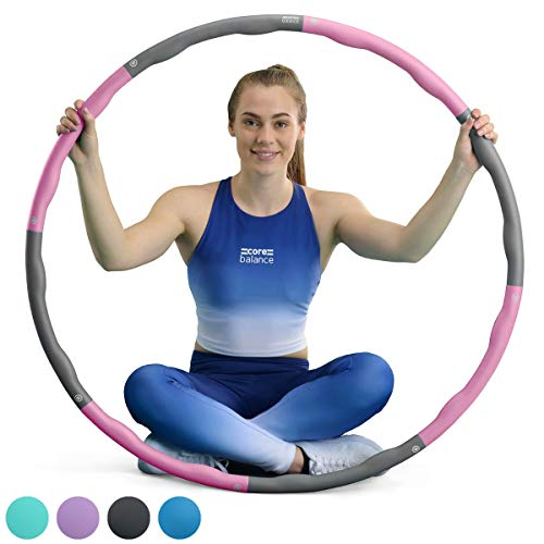 Core Balance Weighted Foam Padded Fitness Exercise Hula Hoop, Wave...