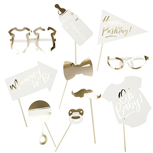 Ginger Ray Oh Baby Shower Photo Booth Props Gold Foiled
