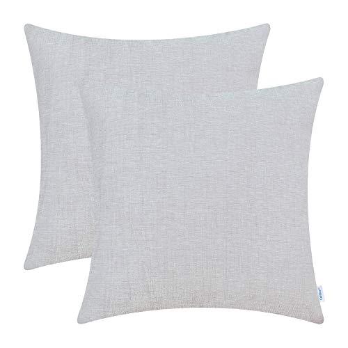 CaliTime - Juego de 2 fundas de cojín acogedoras para sofá, decoración del hogar, chenilla suave teñida, Chenilla, Rayo de luna gris, 45cm x 45cm