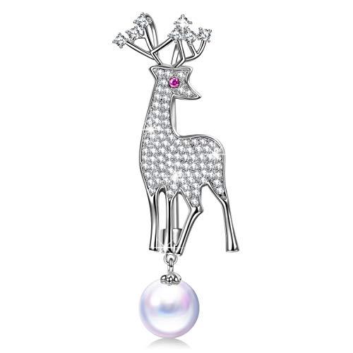 DISSONA Halskette für Frauen, SANTAS HIRSCH, Geschenke für Sie, Perle von Österreich, Schmuckgeschenkbox, Kann als Brosche verwendet werden