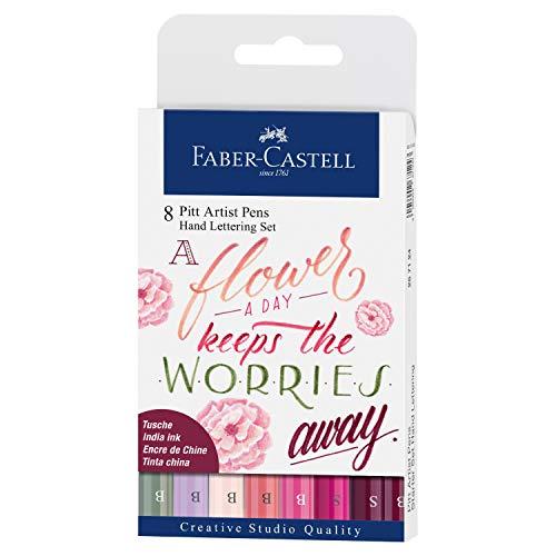 Faber-Castell 267124 Tuschestift Pitt Artist Pen Lettering, Rosatöne, 8er Etui, Mehrfarbig
