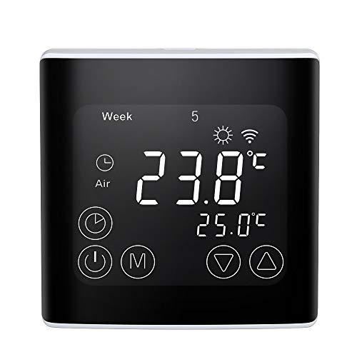 Decdeal Termostato Smart Wi-Fi Digitale - Termoregolatore Programmabile, Controllo App, Display LCD, Termostato Riscaldamento, Superficie Curva, 16A