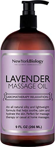 New York Biology Lavender Massage Oil - 100% Natural Ingredients - Sensual Body Oil Made with Essential Oils for Muscle Relaxation and Deep Tissue - 9 oz