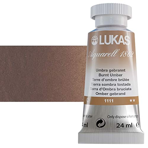 LUKAS Aquarell 1862 Water Color Paints - Professional Quality with Brilliant Colors - 24 ml Tube Burnt Umber
