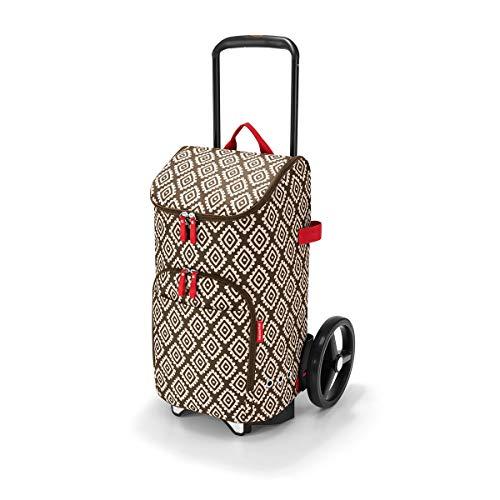 reisenthel citycruiser Rack + citycruiser Bag Set, moderner, robuster Einkaufstrolley aus Aluminium, leichtlaufende Rollen - große Einkaufstasche, 34x60x24 cm, 45 l, Diamonds Mocha (6039)