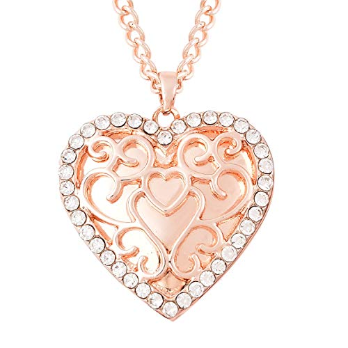 TJC Heart Locket Necklace for Women Size 20 Inches White Glass Gift for Wife/Girl Friend