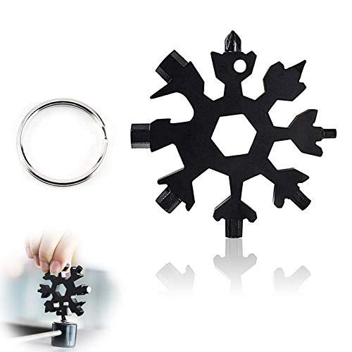 Multitool Edelstahl Fahrrad Multifunktionswerkzeug,Tragbare Schneeflocke Schlüsselbund Schraubendreher,18-in-1 Schneeflocke Multitool Karte Schlüsselanhänger,Ringschlüssel Schlüsselbund(schwarz)