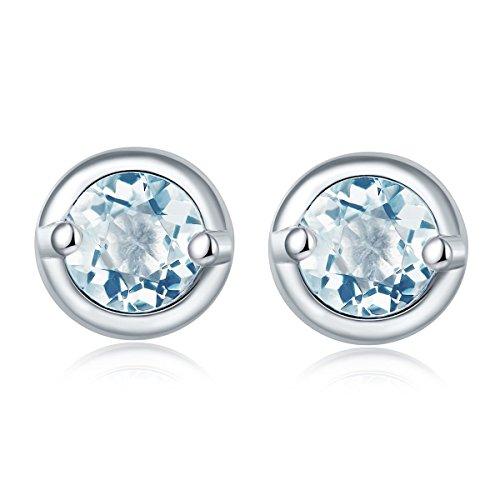 Stone Jewelry Ohrstecker, natürlicher Edelstein, RD, 4,0 mm, Aquamarin, massives 925er Sterlingsilber, feiner Modeschmuck, als Geburtstagsgeschenk