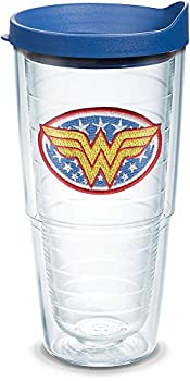 Tervis Wonder Woman Tumbler with Emblem and Blue Lid 24oz Clear
