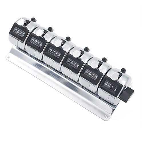 GOGO 6-Unit Counter, Mechanical Tally Meter, Chrome Plated Multiple-Unit Desktop Tally Counter for Event, People, Inventory