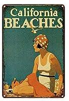 バークラブカフェファームの家の装飾アートポスターのためのヴィンテージメタルティンサインカリフォルニアビーチ