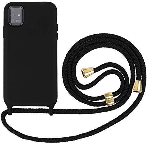 Oihxse Funda con Cuerda Compatible para Samsung Galaxy A41 Carcasa de Silicona Líquida Suave con Correa Colgante Ajustable Case Moda Ultra Delgado Antigolpes Protección Cover,A2