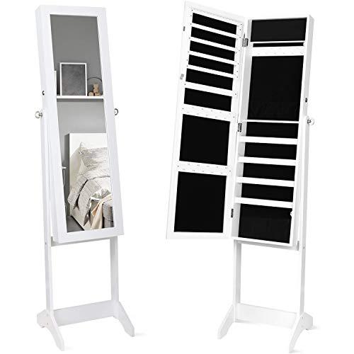 Espejo Joyero de Pie Armario para Joyas Organizador Joyas con Espejo con Estante Cerradura Blanco 36x36x152cm