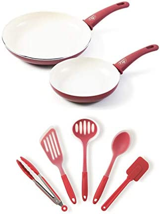 GreenLife Soft Grip Ceramic Nonstick 7 Inch and 10 Inch Open Frypan Set with 5 Piece Silicone product image