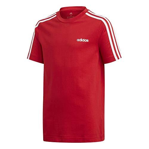 Adidas Essentials 3 Stripes - Maglietta da bambino rosso/bianco 164
