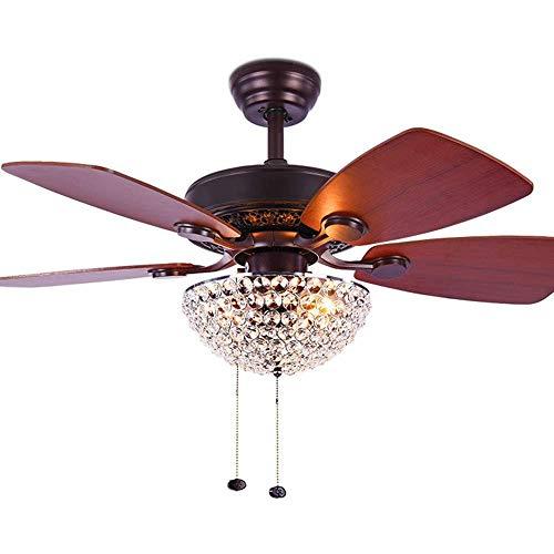 MLDSJQJ Kristall-Deckenventilator, mit Fernbedienung, 5 Blatt aus Holz, Kettenschutz, Kronleuchter, Ventilator mit 3 Lichtquellen | D-Lüfter