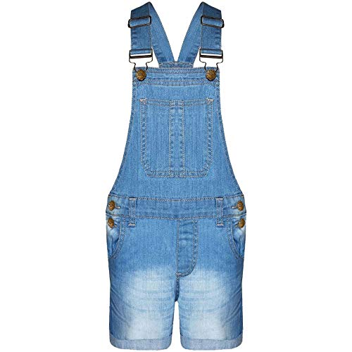 A2Z 4 Kids® Kinder Mädchen Denim Stretch Latzhose - Girls Shorts Dungaree Light Blue 7-8