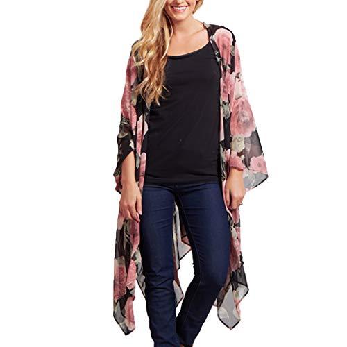 Sannysis Damen Blumendruck Chiffon Kimono Sommer Boho Kimono Stil Gedruckt Tops Jacke Cardigan Blusen Bikini Cover Up Beachwear