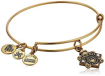 Alex and Ani Womens Because I Love You Friend Charm Bangle Bracelet Rafaelian Gold Expandable