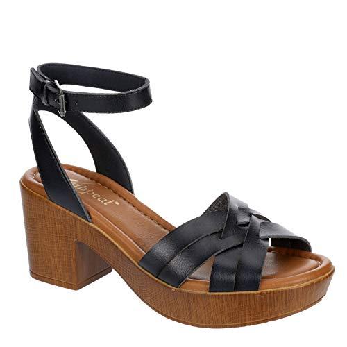 XAPPEAL May - Womens Dress High Heeled Open Peep Toe Chunky Platform Ankle Strap Sandals Dark Blue, Size 10.0 Medium Width