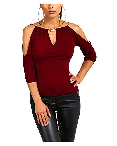 Camiseta Hombros Descubiertos para Mujer Blusa Elegante de Cuello V Mangas Medias y Color Sólido Camisa con Adorno de Cadenas Finas Top de Fiesta Primavera Verano Dama (Vino Rojo, S)