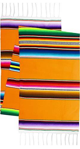 Fäden West Original Mexikanischen Premium handgewebte Bright mexicantable Runner Saltillo Sarape Bunt Gestreift Sarape 152,4x 30,5cm Traditionell Orange