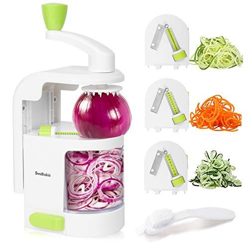 SveBake Gemüse Spiralschneider Gemüseschneider mit 4 Klingen, Hand Gemüsehobel, Zoodle Maker für Zucchini, Karotte, Gurke, Kartoffel,Kürbis, Zwiebel, Weiß