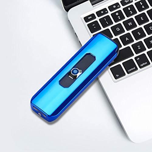 Haiabei 1 x caja de regalo mini delgado eléctrico USB portátil de bolsillo encendedor de aluminio recargable a prueba de viento USB botón pulsador de doble cara de carga (azul)