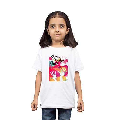 LIMIT Fashion Store - Bura Na Mano Holi Hai Printed Kids T-Shirt for Boys & Girls Cotton Casual Holi Tshirt White