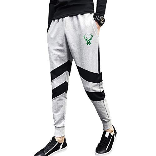 Haoshangzh55 Pantalones De Baloncesto/Milwaukeebucks Gris Ropa De Entrenamiento Deportiva para Los Fanáticos. Los Hombres Ocasionales Sueltos Absorbe La Humedad,2XL