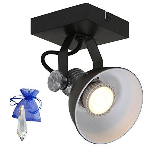 Decken- / Wandspot Brooklyn GU10 LED 7W schwarz als Wand- und Deckenleuchte im industriellen Fabriklampen Loft-Lampe Retro Look + Giveaway