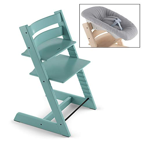 Great Price! Stokke Adjustable Ergonomic Tripp Trapp Chair - Aqua Blue & Tripp Trapp Newborn Baby Se...