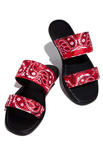 KHJH MujerVeranoZapatillasSandalias,Zapatillas Planas con Estampado Rojo Baño Transpirable Zapatos De Punta Abierta Bohemia Beach Zapatos Antideslizantes para Dama Niña Al Aire Libre Antideslizan
