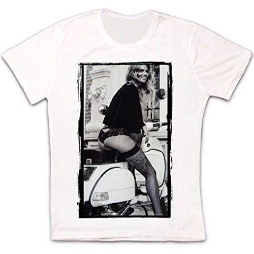 Sexy Woman On Vespa Motorbike Retro Vintage Hipster Unisex T Shirt-M,White/Mens
