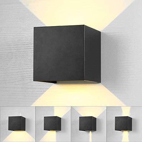 Lightess 10W LED Wandlampe Innen Aussen Schwarz 120° mit einstellbaren Abstrahlwinkel Design Wandleuchte Modern Up Dwon Licht IP65 Wasserdicht aus Aluminium Warmweiß
