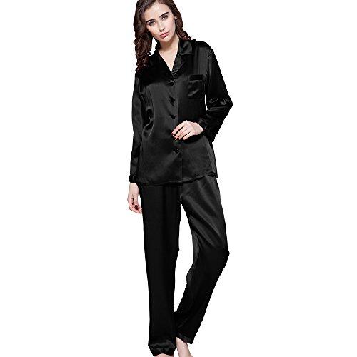 LilySilk 22 Momme Seide Damenpyjama Set Schlafanzug Nachtwäsche Damen Hausanzug aus Seide von Verpackung MEHRWEG Schwarz M