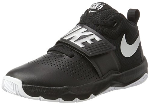 Nike Boys' Team Hustle D 8 (GS) Basketball Shoe, Black/Metallic Silver - White, 6Y Youth US Big Kid