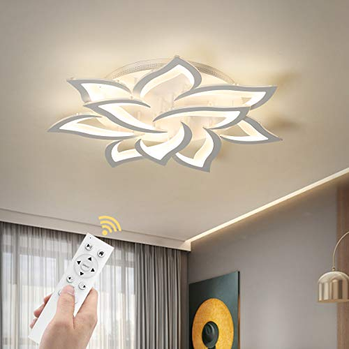 Garwarm Dimmable LED Ceiling Light, 72W Modern Acrylic Flush Mount Ceiling Lamp with Remote Control Metal Flower Shape Chandelier Lighting Fixture for Living Room Bedroom Kitchen