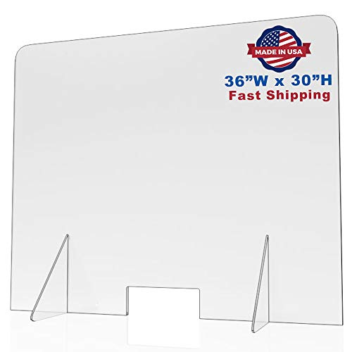 Sneeze Guard for Counter and Desk - Freestanding Clear Acrylic Shield, plexiglass Shield, Pass-Through Transaction Window (36'W x 30'H)