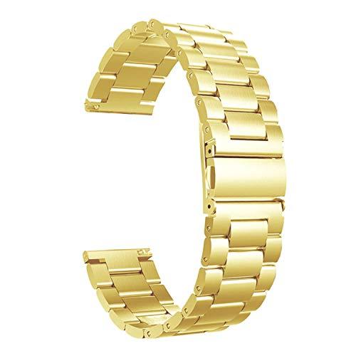 Fei Mei Correa de Reloj de Acero Inoxidable, Correa de Metal de Repuesto para Hombres, Mujeres, Correa de Reloj de liberación rápida Ajustable, 20 mm (Color : Oro, Tamaño : 20MM)