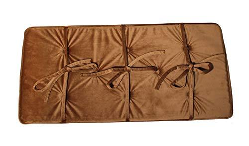 Light Brown Piano Bench Cushion Pad 14' X 30' Velour Fabric